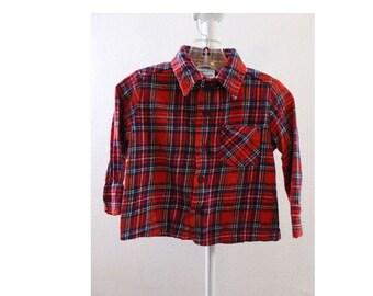 Vintage 70s Kids Flannel Shirt Size 2T Cotton red Plaid Grunge Boy Girl baby