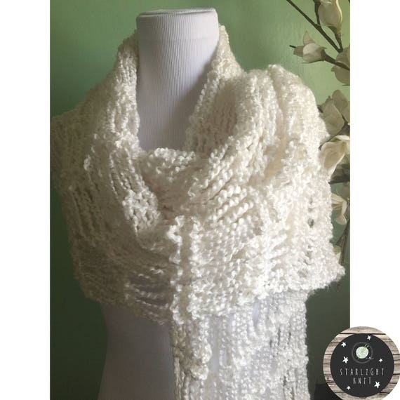 Hand Knit Soft and Light Shawl Scarf Wrap
