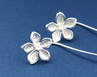 NEW Silver Flower Earrings with a Long Stem Sterling Silver Flower Stud Earrings SPRING FLOWERS New Design