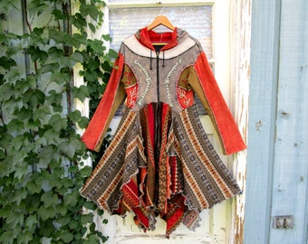 RESERVED Balance// Embroidered Fair Isle Hoodie Sweater Coat// Bohemian Pixie// Reconstructed// Gray Orange// Altered Clothing// emmevielle
