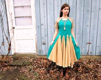 Teal Embroidered Ethnic Swing Sweater Knit Dress// Reconstructed// Altered Clothing// Tea Length// Medium Large// emmevielle