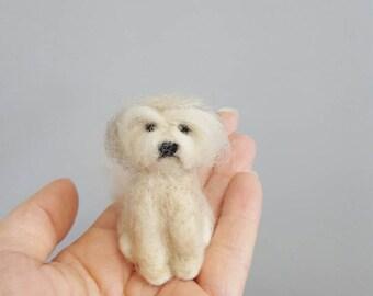 Shih Tzu needle felted dog ornament, Custom dog ornament, Dog memorial