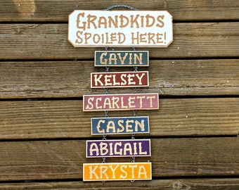 GRANDKIDS SPOILED HERE carved wood personalized sign  for Grandpa Grandma (38 dollars)    Optional Grandkid names are extra-6 dollars each