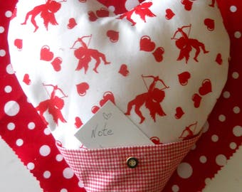 Moms's Day Heart pillow w NOTE pocket, several available, red print or plain red, SALE.