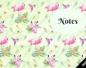 B6 Insert Digital Printable Cover Flamingoes Summer Spring Green Pink