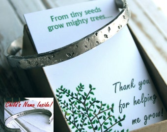 Teacher Gift.  Hand Stamped Cuff Leaf Leaves Bracelet. From tiny seeds grow mighty trees Silver Aluminum. Personalized inside