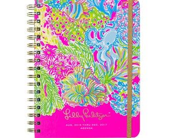 Monogrammed Lilly Pulitzer 2017 Large Agenda Planner, Lover's Coral, Lilly Planner, Lilly Agenda,