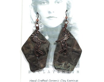 Ceramic Clay Earrings, One of a Kind, Handmade from Tumbled Stoneware Shards and Copper Pony Accents, Hypo-allergenic Niobium Ear Wires