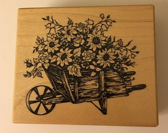 PSX Wood Mounted Rubber Stamp Floral Wheelbarrow