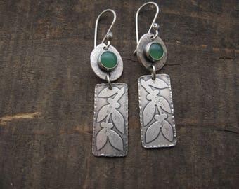 Chrysoprase earrings, leaf earrings, green earrings by teresamatheson