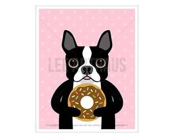 129D Dog Print - Boston Terrier Dog Eating a Donut Wall Art - Boston Terrier Print - Donut Print - Funny Dog Art - Sprinkle Donut Print