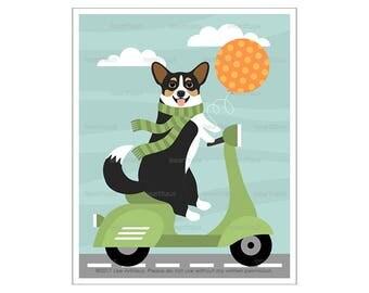 315D - Dog Art Prints - Corgi Dog Riding Green Vespa Wall Art - Vespa Print - Scooter Wall Art - Corgi Print - Whimsical Animal Prints