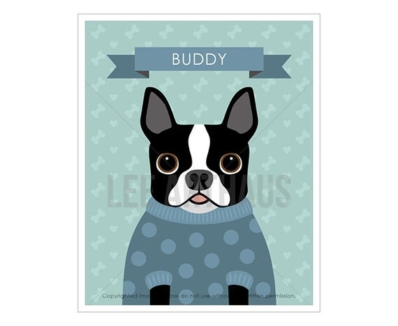 6N Custom Name Print - Personalized Boston Terrier Wearing Sweater Wall Art - Pet Portraits - Boston Terrier Print - Custom Pet Portrait