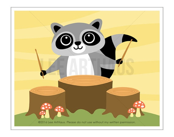119A Raccoon Print - Raccoon Drummer Wall Art - Drums Wall Art - Woodland Boy Nursery - Raccoon Wall Art - Music Print - Drummer Print