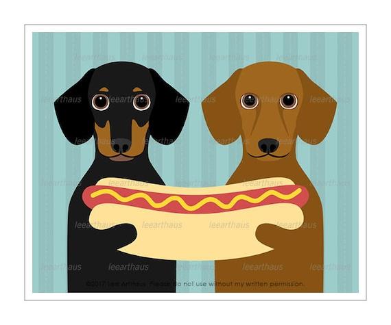 302D Hot Dog Print - Two Dachshund Dogs Sharing Hot Dog Wall Art - Kitchen Art - Hot Dog Poster - Dachshund Print - Funny Dog Art Prints