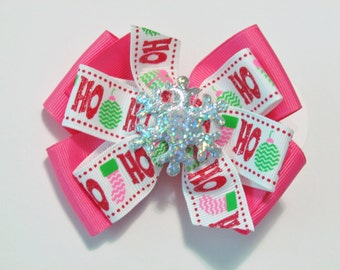 White, Hot Pink, and Red HoHo with Glitter Snowflake Jennifer Style Stacked Boutique Hair Bow Clip on alligator clip with no slip grip