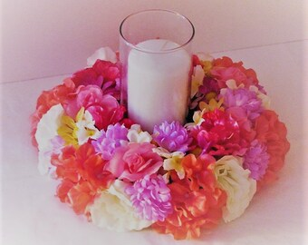 Wedding centerpiece tropical candle ring silk flower wedding centerpiece Flower Decoration wedding table centerpiece