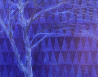Night Tree With Stars on Triangles - original fine art painting by Irene Stapleford - wantknot shop