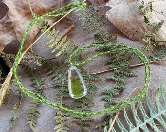 Bracken fern leaves in plant-based resin with braided cord necklace - simple nature jewelry ecoresin bioresin bio eco resin
