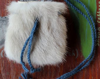 Vintage mink fur pouch with braided cords for crystals, herbs, medicine, more