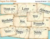 SALE ALWAYS FLASHCARDS Collage Digital Images -printable download file- Digital Collage Sheet Vintage Paper Scrapbook