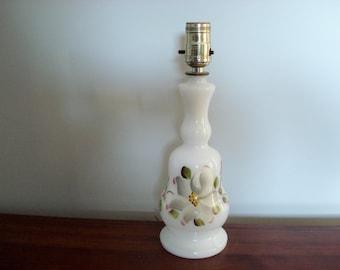 Painted milk glass lamp - dogwood flower