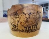 Yarn Bowl of Dense Wood With Pyrographic Sheep