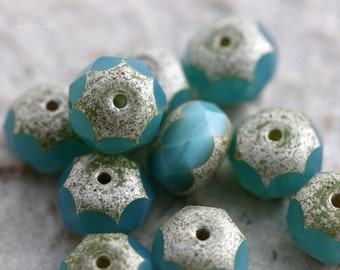 BLUE DEW No. 2 .. NEW 10 Premium Czech Picasso Rondelle Glass Beads 6x9mm (5600-10)