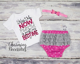 New Years Eve Baby Girl Outfit, Ruffled Bloomers Set, Toddler Clothes, Kiss Me Now Midnight is Past My Bedtime Pink Silver Black Crown