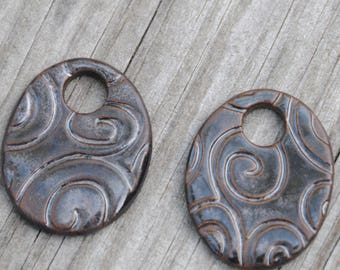 3 Black Adventure Oval Beads made of Pottery; earring pair of beads; ceramic beads, swirl pattern