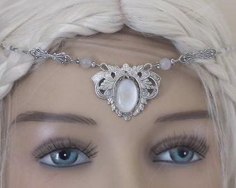 "Elven Circlet ""White Elf"" Tiara Diadem Headband glass cabochons and Jaspe Jaspis beads"