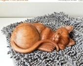 Black Fri Sale Wood Cat, Carved Cat Sculpture, Sleeping Kitten
