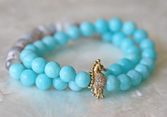 Amazonite Bracelet, Seahorse Charm, Turquoise Bracelet, Stretch Bracelet, Pave Charm, Beaded Bracelet, Natural Gemstone Bracelet