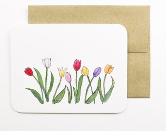 Tulips card with envelope | Colourful tulips | Spring Flowers | Blooms | Mothers Day card | Thank you card