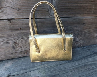 Vintage Bag, Mr. Bonhomme, Gold Cocktail or Dinner Bag, Formal Bag, Petite Evening Bag, Prom, Wedding