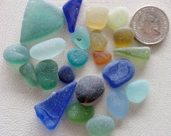 English sea glass 20 colour collection lovely multi ,blue , turquoise teal ,seafoam,amber,orange ,blue  etc etc