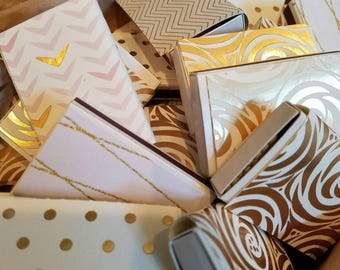 Gold Matchbooks, set of 12, party favors