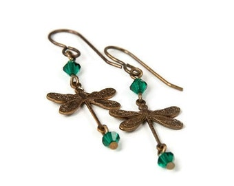 Choose Color - Brass Dragonfly Earrings with Crystal Accents