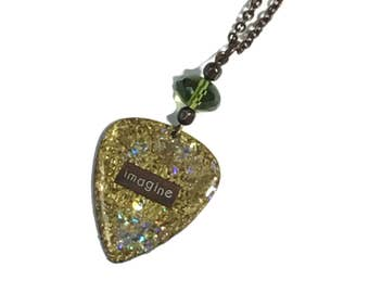 Guitar Pick Necklace IMAGINE embedded in Green gold with clear glass glitter Accents, Long Layering Necklace