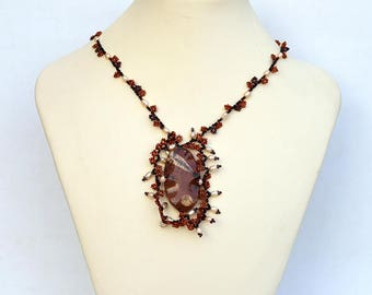 Wild necklace with jasper Beadwork jasper with fossil jasper bead Original design necklace with jasper focal Brown and copper necklace N677