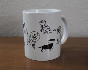 Cats and Dogs Mug, Veterinarian Gift, Cone Cat Mug, Cone Dogs, Cone of Shame, Dog Mug, Cat Mug