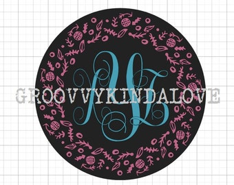 Nature Wreath Monogram Frames Instant Download for Electronic Cutters silhouette cricut vinyl digital decal t shirt heat transfer