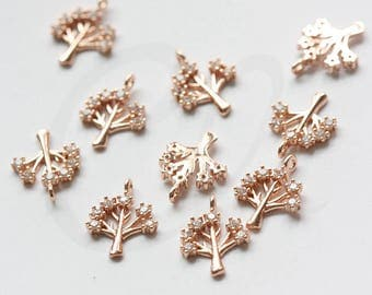 One Piece Premium Rose Gold Plated Brass Base Charm - Tree with Rhinestone 14x11mm (673Z)