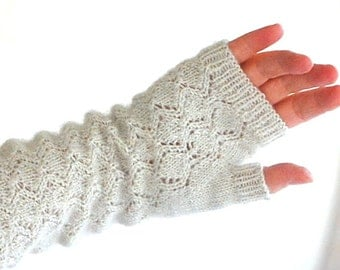 Knitting Pattern PDF Lace Mitts Fingerless Gloves