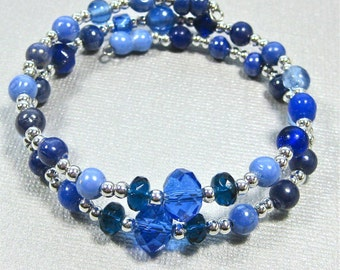 Blue and silver wrap bracelet, blue crystals, beads and silver memory wire double row bracelet