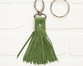 "6"", recycled green suede tassel, leather, leather fringe, keychain, bag charm, upcycled, fringe, hook, handmade, wholesale, stacylynnc"