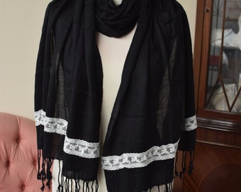 READY TO SHIP  Black and ivory vintage pashmina, vintage and contemporary lace shawl pashmina wrap scarf