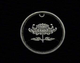 Japan - cut coin pendant - Chrysanthemum Blossom - 1957