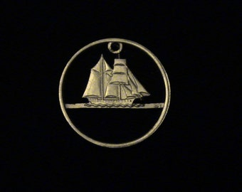 GREECE - cut coin pendant - w/ Ship - 1984