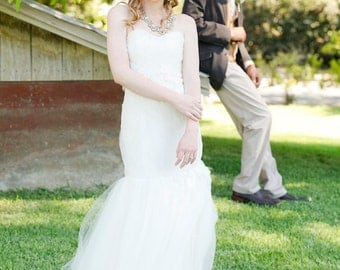 Yvette tulle and lace mermaid wedding gown